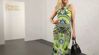 Geometric Bird Print Lime Sleeveless Maxi Dress