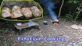 Primitive Technology |Cooking on a rock | Cooking breakfast in the woods