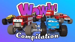Monster Trucks for Children | Car Challenge 3d | Trucks Cartoon for Kids | Compilation for Kids