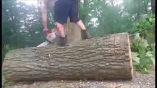100% Oak wood couch - Log bench seating  cut from tree stump