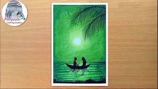 Green light scenery drawing with oil pastels