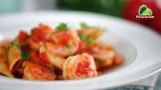 Receita - Penne com tomate e camarão - Sabores da Semana