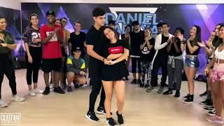 Cute couple dancing in perfect