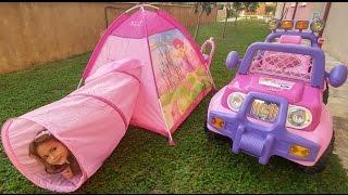 Tünel çadırı bahçeye kurduk.Barbie mylittle pony ve elif piknik yaptı, eğlenceli çocuk videosu