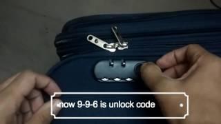 How to reset suitcase lock,luggage,Trolley, Safari,American Tourister, VIP, Sky Bags, Samsonite