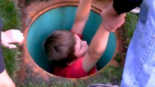 kid falls into water drain, goes very wrong..