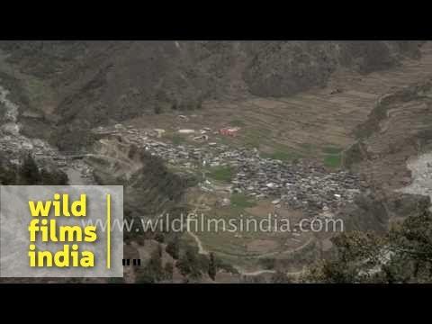 Aerial view of Kharsali village - Uttarakhand