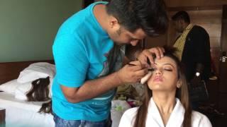BEHIND THE SCENE of sans khan makeup hair / waja tum ho / Bollywood makeup / celebrity makeup /