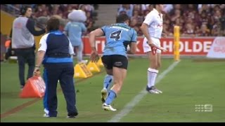 NRL State of Origin - Amazing comeback tackle by an injured Josh Morris