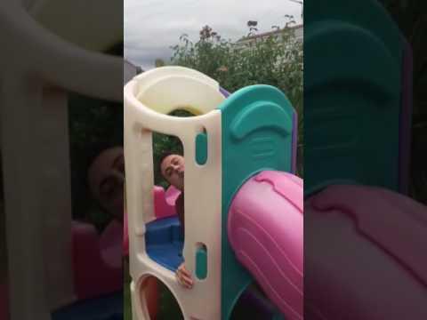Guy Gets Stuck in Slide