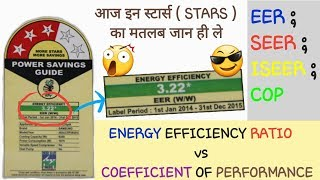 BEE STAR RATING & ENERGY EFFICIENCY RATIO   EER vs COP   RATING & LABELING OF REFRIGERATOR & A.C.