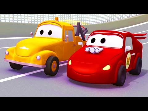 Racing car & Tom Tow Truck Cartoon Hindi रेसिंग कार और टॉम द टो ट्रक्स ट्रक्स & कार निर्माण कार्टून