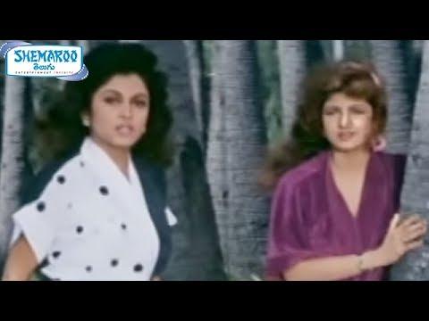 Ramya Krishna & Ramba seducing Chiranjeevi Alluda Majaka Telugu Movie Scenes Brahmanandam