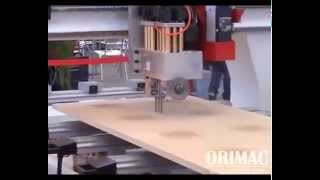 Automatic Woodworking CNC Router Center with Drills/Saw Unit for windows doors