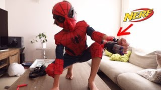 Bad Guys inda House? Spider Man for the Rescue ! Nerf vs Angry Birds