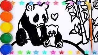 Glitter How To Draw _ Drawing and Coloring Panda easy for kids || Draw Kids