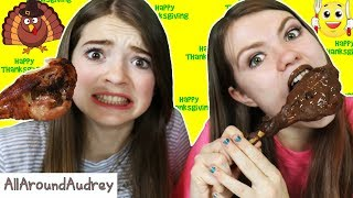 CHOCOLATE VS REAL FOOD Thanksgiving SWITCH UP!! / AllAroundAudrey