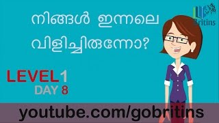 Spoken English in Malayalam- Level 1, Day 8
