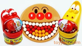 Learn Colors Anpanman Baby Plate Larva Bubble Gum Surprise Kinder Joy Egg Kids toys Baby Finger Song