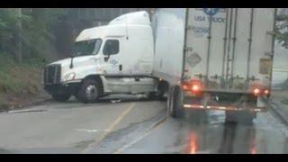 Driver Fails at Low Bridge U-Turn - USA Truck
