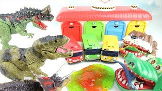 Dinosaurs Slime Attack Tayo The Little Bus. Please help me. Crocodile&Bulldog~ 타요 공격하는 공룡! 악어 불독 출동