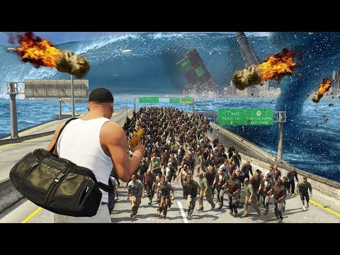 GTA 5 EVERY Natural Disaster EVER Tsunami Zombies Meteor Shower Earthquake & More