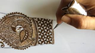Intricate bridal dulhan mehendi with peacock and dulhan design episode 8
