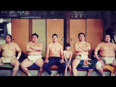 Tom Brady sumo wrestles with son in Japan