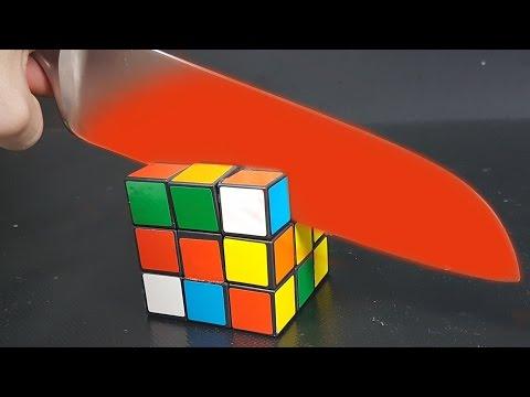 EXPERIMENT Glowing 1000 degree KNIFE vs RUBIK'S CUBE