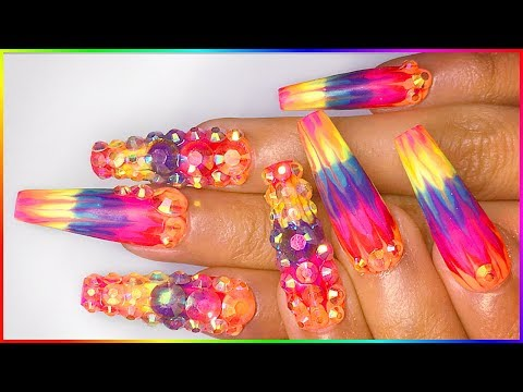 Xxx Mp4 Psychedelic Glitch Nails W Backless AB Stones Gel Marble Bling Nail Designs 3gp Sex