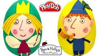 2 Ovos Surpresas Gigantes de O Pequeno Reino de Ben e Holly em Português Brasil de Massinha Play Doh