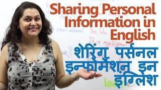English Speaking Through Hindi – Sharing Personal Information ( Free English lessons)