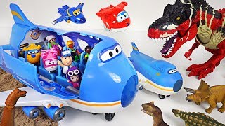 Super Wings Giant jumbo plane crashed on dinosaur island! Help! Transform robot suit! - DuDuPopTOY