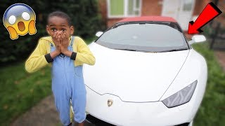 Surprising my little brother with a Lamborghini..*Prank* (Emotional)