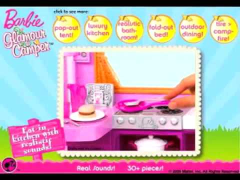 Barbie Pink Glamour Camper and features doll commercial