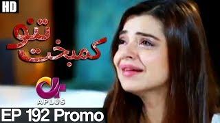 Kambakht Tanno - Episode 192 Promo | A Plus ᴴᴰ Drama | Shabbir Jaan, Tanvir Jamal, Sadaf Ashaan
