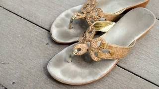 Well Worn Women's Tan Slip On Sandals with Foot Marks