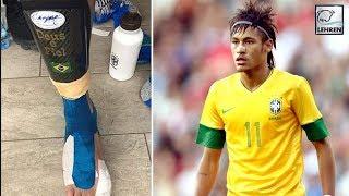 Neymar Shows Off Injured Bandaged Foot After Goal-Scoring Return For Brazil