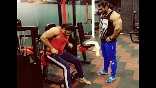 Marathi tv star Devdatta Nage working out  with sangram chougule