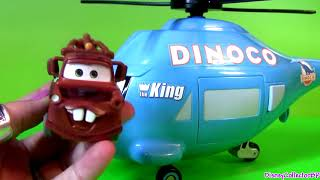Disney Pixar Cars Talking Dinoco Helicopter Transporter ~ Rotor Turbosky The King with Mater