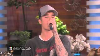 "Justin Bieber singing ""Sorry"" acoustic @ The Ellen Show. (November 2015)"