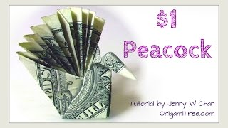 DIY How to Fold $1 Money Origami PEACOCK - Dollar (Easy)