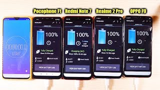 Redmi Note 7 vs Pocophone F1 vs Realme 2 Pro vs OPPO F9 Battery Test