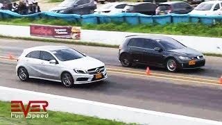 Volkswagen Golf GTI vs Mercedes A45 AMG. Drag Race. final 12 seg VII Válida 2017.