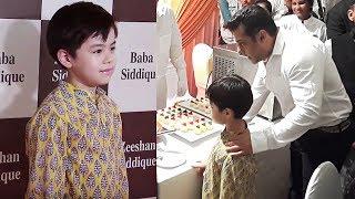 Salman Khan With CUTE Matin Re Tangu At Baba Siddiqui Iftar Party 2017