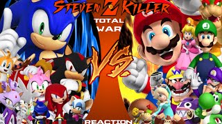 MARIO vs. SONIC TOTAL WAR Cartoon Fight Club Reaction