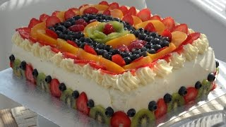 How To Make Sponge cake With Cream & Fruit - آموزش درست کردن کیک اسفنجی با تزئین میوه و خامه