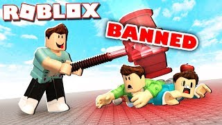 Roblox Adventures - THROWING A GIANT BAN HAMMER IN ROBLOX! (Knife Simulator)