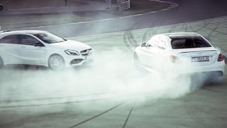 Mercedes AMG C63S vs AMG A45 - Two Hot Girls Drifting on Racetrack [ENG SUB]