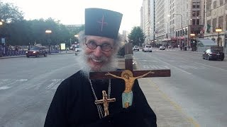 Brother Nathanael talks to Chris Krzentz in Chicago